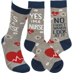 Yes I'm A Nurse No I Don't Wanna Look At It Colorfully Printed Cotton Socks from Primitives by Kathy
