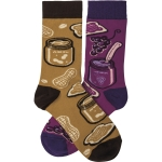 Peanut Butter & Jelly Colorfully Printed Cotton Socks from Primitives by Kathy