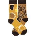 Beer & Pretzels Colorfully Printed Cotton Socks from Primitives by Kathy