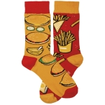 Burgers & Fries Colorfully Printed Cotton Socks from Primitives by Kathy