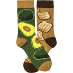 Avocado & Toast Colorfully Printed Cotton Socks from Primitives by Kathy