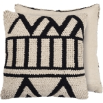 Textured Cream Colored Geometric Design Cotton Throw Pillow 20x20 from Primitives by Kathy