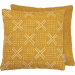 Woven Checked Pattern Saffron Mix Decorative Cotton Throw Pillow 15x15 from Primitives by Kathy