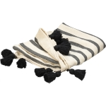 Cream Black Stripes & Black Tassels Cotton Throw Blanket 50x60 from Primitives by Kathy