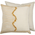 Cream Base Saffron Stitched Accents & Zigzag Pattern Decorative Cotton Throw Pillow 18x18 from Primitives by Kathy