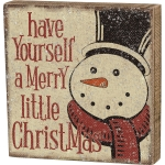 Rustic Snowman Have Yourself A Merry Little Christmas Decorative Wooden Box Sign 8x8 from Primitives by Kathy