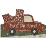 Merry Christmas Presents Truck Shaped Decorative Wooden Sign 7 Inch x 4.5 Inch from Primitives by Kathy