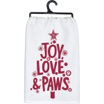 Pet Lover Joy Love & Paws Christmas Tree Design Cotton Dish Towel 28x28 from Primitives by Kathy