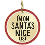 I'm On Santa's Nice List Enamel Dog Collar Pet Charm on Backer Card from Primitives by Kathy