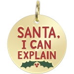 Santa I Can Explain Enamel Dog Collar Pet Charm on Backer Card from Primitives by Kathy