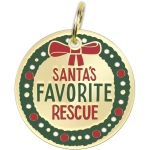 Santa's Favorite Rescue Enamel Dog Collar Pet Charm on Backer Card from Primitives by Kathy