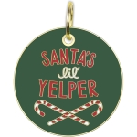 Candy Cane Design Santa's Lil Yelper Enamel Dog Collar Pet Charm on Backer Card from Primitives by Kathy