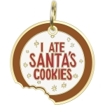 I Ate Santa's Cookies Enamel Dog Collar Pet Charm on Backer Card from Primitives by Kathy
