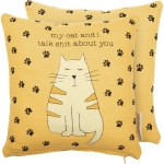 Cat Lover My Cat & I Talk Shit About You Decorative Cotton Throw Pillow 10x10from Primitives by Kathy