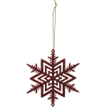 Medium Red Glitter Snowflake Hanging Christmas Ornament 4 Inch from Primitives by Kathy