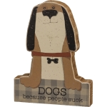 Dog Lover Dogs Because People Suck Decorative Wooden Block Sign 5 Inch x 6.5 Inch from Primitives by Kathy