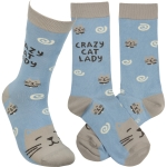 Crazy Cat Lady Colorfully Printed Cotton Socks from Primitives by Kathy