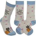 Cat Lover Heart Design I Just Want All The Cats Colorfully Printed Cotton Socks from Primitives by Kathy