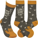 Paw Print Design I Can't I Have A Date With My Cat Colorfully Printed Cotton Socks from Primitives by Kathy