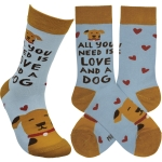 Dog Lover All You Need Is Love And A Dog Colorful Cotton Socks from Primitives by Kathy