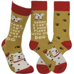 Dog Lover Sorry I Can't I Have Plans With My Dog Colorfully Printed Cotton Socks from Primitives by Kathy