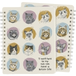 Cat Lover I Work Hard So My Cat Can Have A Better Life Double Sided Spiral Notebook (120 Lined Pages) from Primitives by Kathy