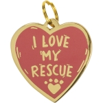 I Love My Rescue Heart Shaped Dog Collar Pet Charm on Backer Card from Primitives by Kathy