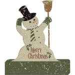 Merry Christmas Snowman With Broom Decorative Wooden Sign 5.25 Inch x 6.25 Inch from Primitives by Kathy