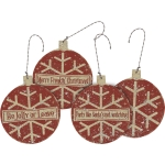 Set of 3 Retro Themed Double Sided Snowflake Bulb Christmas Ornaments from Primitives by Kathy