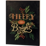 Holiday Greenery Merry And Bright Decorative Large Wooden Block Sign 15x20 from Primitives by Kathy