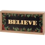 Holly Berry Design Believe Decorative Inset Wooden Box Sign 12x6 from Primitives by Kathy