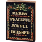 Holiday Greenery Merry Be Your Christmas Decorative Wooden Block Sign 3.5 Inch x 5 Inch from Primitives by Kathy
