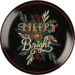 Holiday Greener Design Merry And Bright Decorative Stoneware Plate 12 Inch from Primitives by Kathy