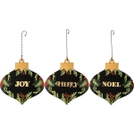 Set of 3 Holiday Greenery Hanging Christmas Ornaments (Merry Joy Noel) from Primitives by Kathy