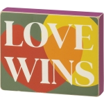 Colorful Heart Design Love Wins Decorative Wooden Block Sign 5x4 from Primitives by Kathy