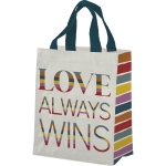 Pride Themed Rainbow Stripe Design Love Always Wins Daily Tote Bag from Primitives by Kathy
