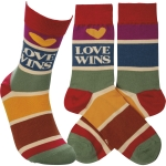 Rainbow Strip Design Love Wins Colorfully Printed Cotton Socks from Primitives by Kathy