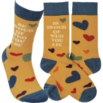 Rainbow Heart Design Be Proud Of Who You Are Colorfully Printed Cotton Socks from Primitives by Kathy