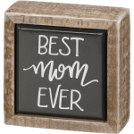 Best Mom Ever Hand Lettered Design Decorative Mini Wooden Box Sign 2.5 Inch from Primitives by Kathy