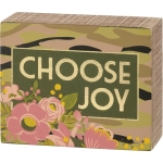 Floral Design Camoflauge Choose Joy Decorative Wooden Box Sign 5x4 from Primitives by Kathy