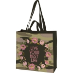 Camo Floral Wreath Design Live Your Best Life Market Tote Bag from Primitives by Kathy