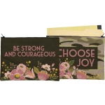 Double Sided Be Strong And Courageous & Choose Joy Zipper Folder Pouch from Primitives by Kathy