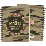 Camo Floral Wreath Design No Regrets Just Lessons Learned Spiral Notebook (120 Pages) from Primitives by Kathy