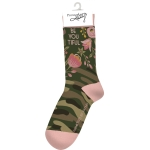 Camo Floral Design Be You Tiful Colorfully Printed Cotton Socks from Primitives by Kathy