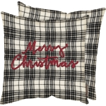 Black & White Plaid Merry Christmas Pom Ribbon Decorative Cotton Throw Pillow 12x12 from Primitives by Kathy