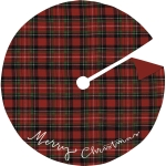 Medium Red & Green Plaid Merry Christmas Cotton Tree Skirt 24 Inch Diameter from Primitives by Kathy