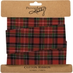 Red & Green Plaid Cotton Gift Ribbon 10 Yards x 3 Inch from Primitives by Kathy