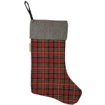 Red & Green Plaid Herringbone Cuff Cotton Christmas Stocking 11x18 from Primitives by Kathy
