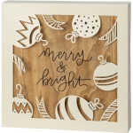 Dimensional Ornaments Merry & Bright Decorative Wooden Box Sign 12x12 from Primitives by Kathy