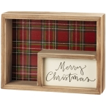 Red & Green Plaid Design Merry Christmas Double Inset Wooden Box Sign 8x6 from Primitives by Kathy